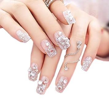Charming Wedding Bridal French Nails Fake Nail Rhinestones Nail Art ...