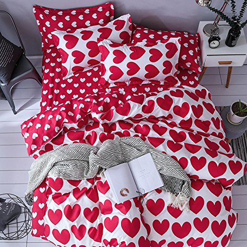Red Heart, Pink King, 86 x94  KFZ Bed Set (Twin Full Queen King Size) [4 Piece  Duvet Cover, Flat Sheet, 2 Pillow Cases] No Comforter KY Peppy Star Red Heart Forest Cloud Design for Teens Kids (Wild Forest, Grey, King, 86 x94 )
