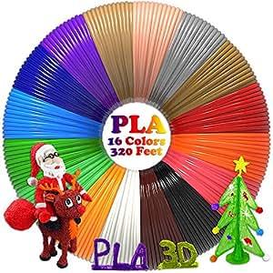 3D Pen/3D Printer Filament(16 Colors, 320 Feet) Bonus 250 Stencils eBooks - Dikale 3D Pen Filament 1.75mm PLA for Canbor BESTHING Tecboss MYNT3D AIO Robotics 3D Pen