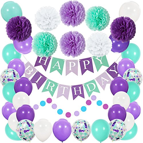 Mermaid Party Decorations and Supplies- Happy Birthday Banner, Pom Pom Decor, Latex Confetti Balloons for Birthday Party, Baby Shower, Under The Sea Party Favors ()
