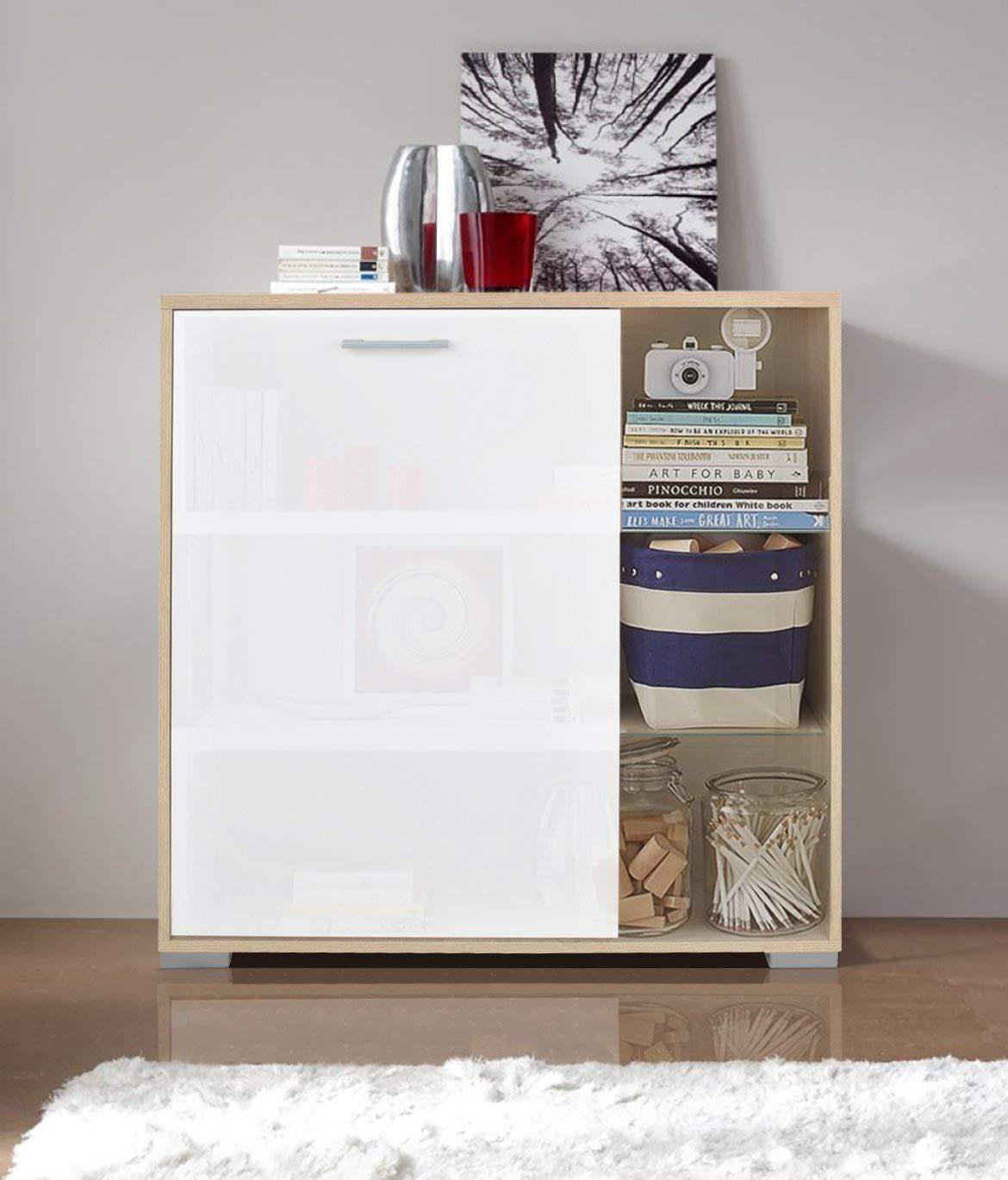 Ideal Alaska Sideboard Shoe Cupboard Storage Solution Furniture Oak Matt White W89CM H92CM D38CM