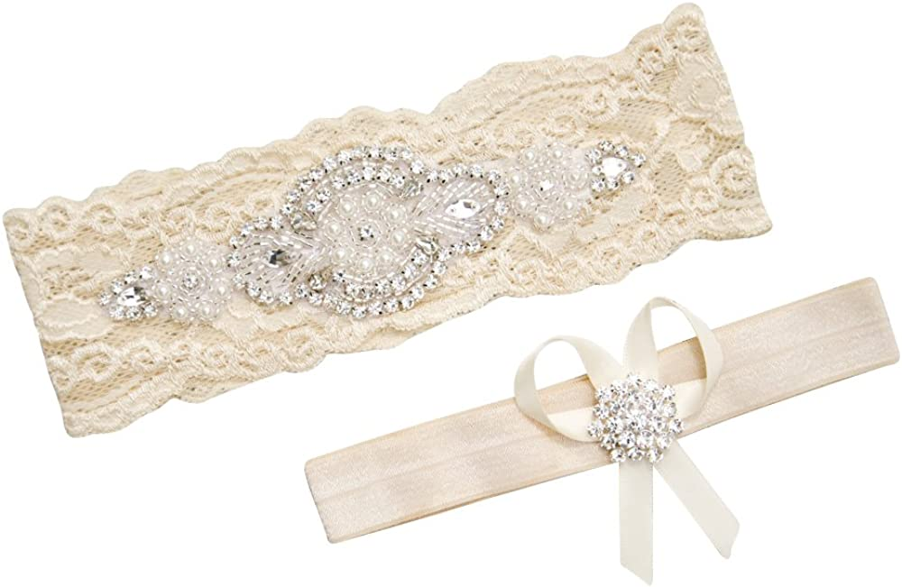 Bridal Ivory Heart Garter with bow,Many Pearls,Stretch Lace Band,Great Gatsby Old Hollywood Victorian IVORY Heart Garter Set Ivory pearls