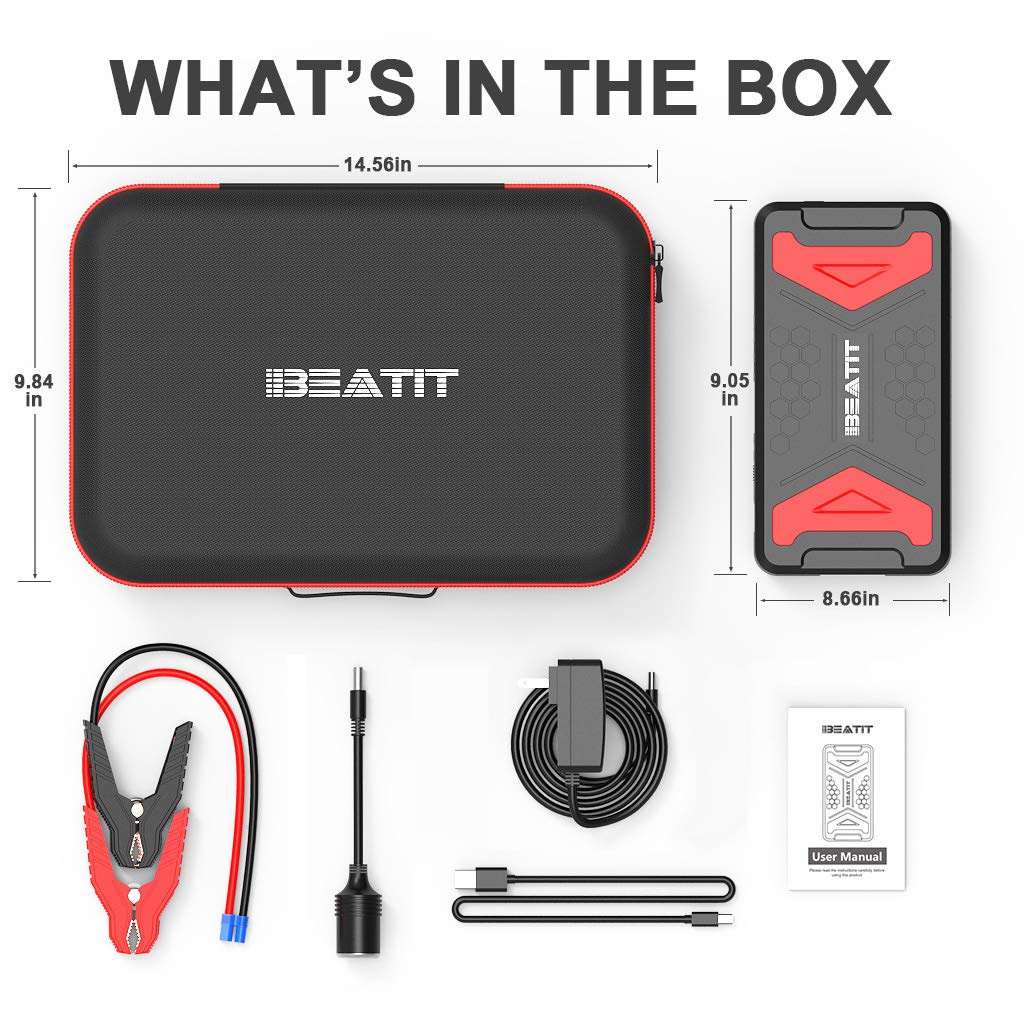 BEATIT QDSP 2200A Peak 21000mAh 12V Portable Car Lithium Jump Starter Gas or 10L Diesel Engine Battery Booster Phone Charger Power Pack with Smart Jumper Cables and 110V Inverter BP101