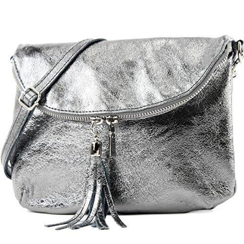 Ital. Bolsa de cuero bolso de hombro de embrague chica Pequeño cuero nappa T07 Anthrazit-metallic