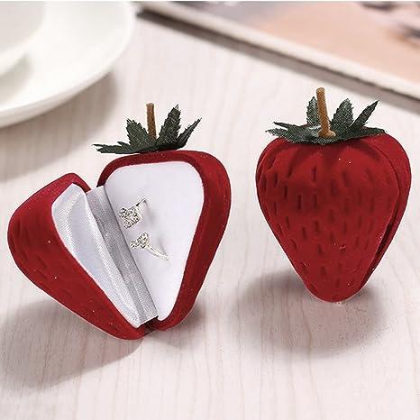 TAKEMORE7 - Caja de almacenamiento para anillos con forma de fresa para anillos y pendientes,