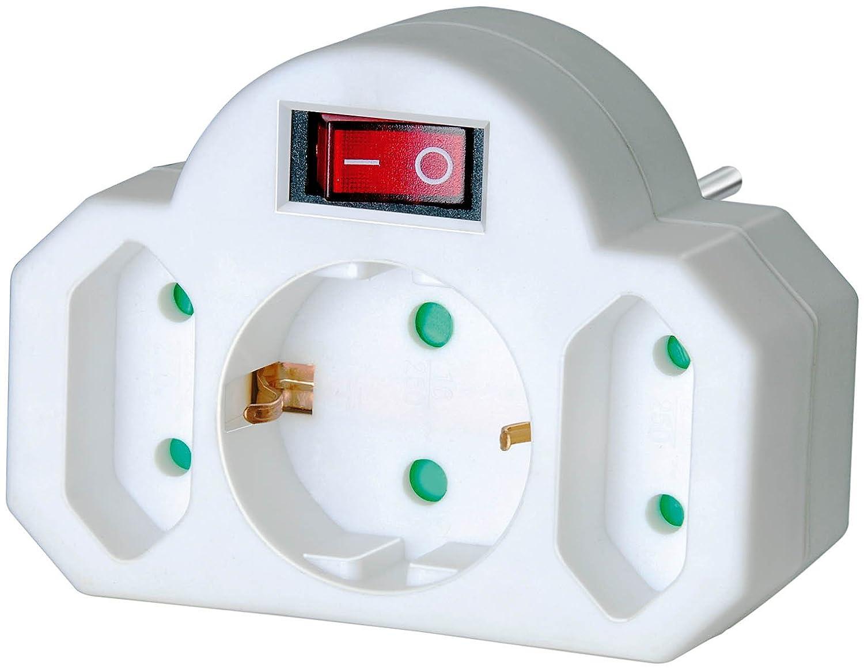 Brennenstuhl Mehrfachsteckdose 3-fach Steckdosenadapter (mit Schalter, Zwischenstecker bestehend aus 2 x Eurosteckdose und 1 x Schutzkontakt) weiß 1508100