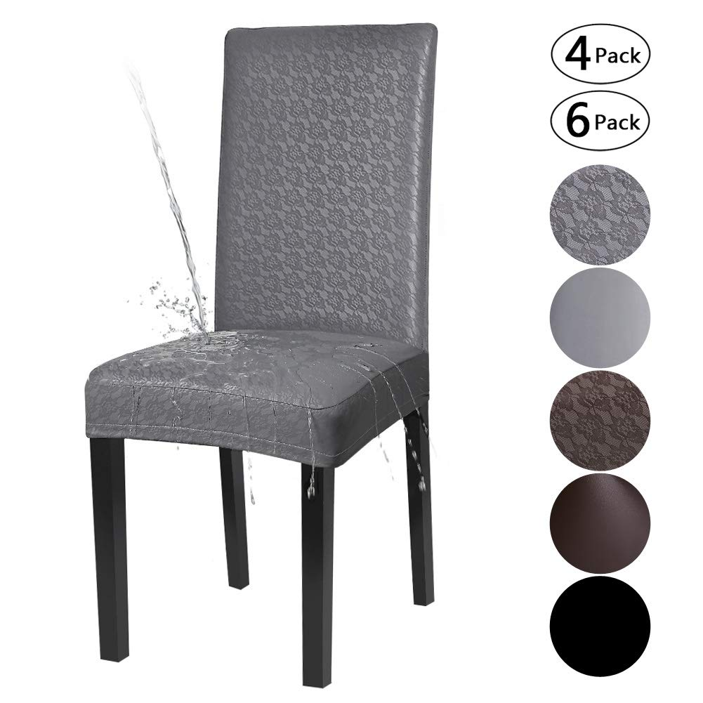 Excellent Yisun Dining Chair Covers Solid Pu Leather Waterproof And Oilproof Stretch Dining Chair Protector Cover Slipcover Lace Grey 4 Pack Uwap Interior Chair Design Uwaporg