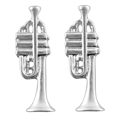 Stud-earrings Musical Orchestra (Trumpet In Silver Finish ...