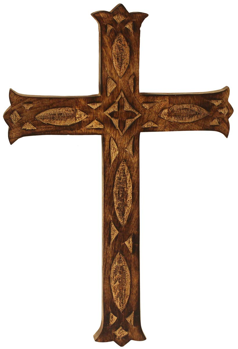 CRAFKART Big 16x10 Inch Wood Wall Mounted Holy Jesus Cross - Wooden Carved Wall Cross - Ideal Gift or Decoration for Home, Weddings, Party, Spa, Meditation, Home Office, Spa, Dorm