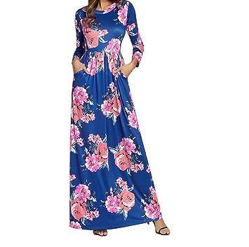 Vestido de Boho de manga larga con estampado floral de una línea de mujeres vestido de