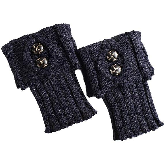 Rawdah_Calcetines Mujer Invierno Divertidos Termicos Algodon Las Mujeres De Invierno Caliente De Punto Calentadores De Piernas Botón Crochet Leggings ...