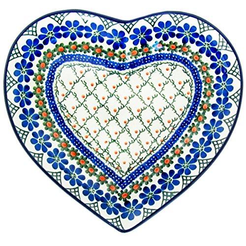(Polish Pottery Handmade 9'' Heart Plate-Dish 925-Vintage Trellis)