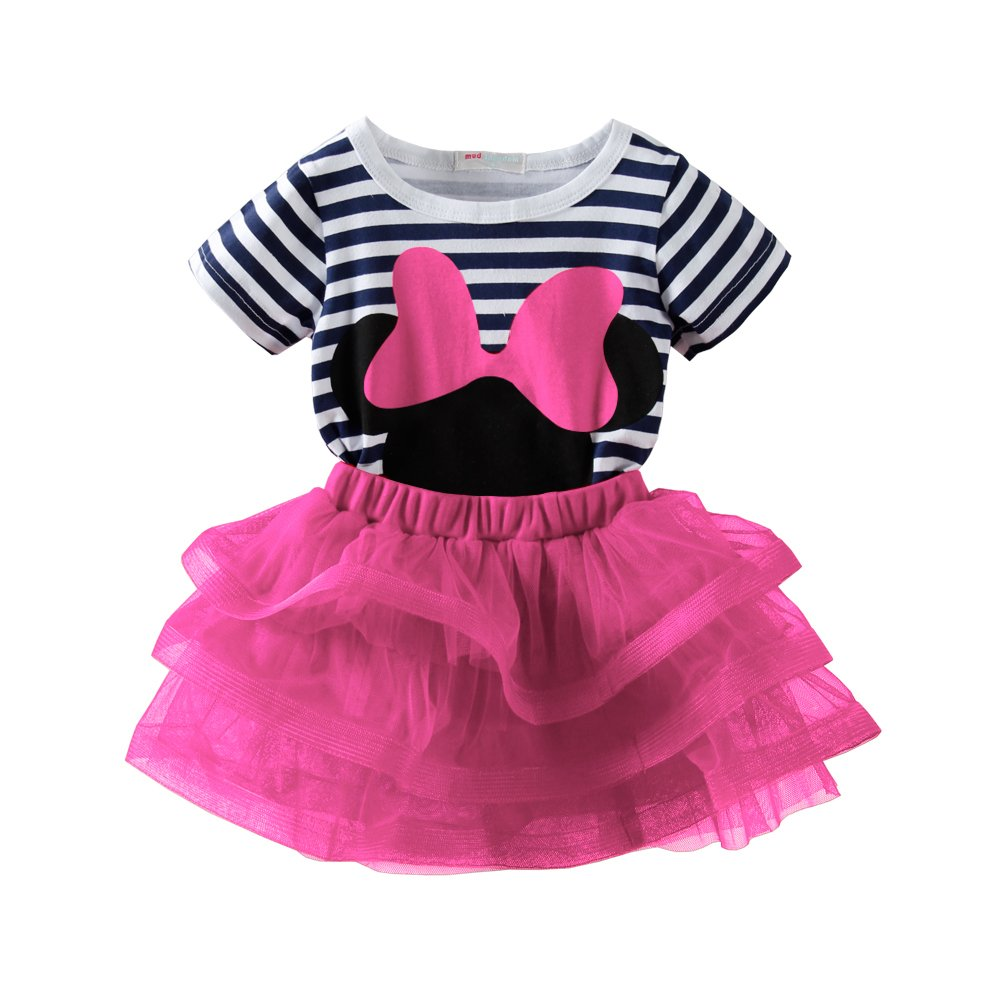 Mud Kingdom Toddler Girls Outfits Cute Tee and Skirt Set Pink 4T by Mud Kingdom (Image #1)