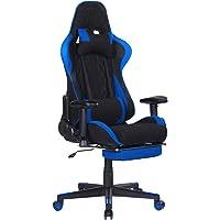 WOLTU Gaming Stuhl #1460 Racing Stuhl Bürostuhl Chefsessel Schreibtischstuhl Sportsitz mit Kopfstütze und Ledenkissen, Armlehne verstellbar, mit Fußstütze, Stoff, höhenverstellbar