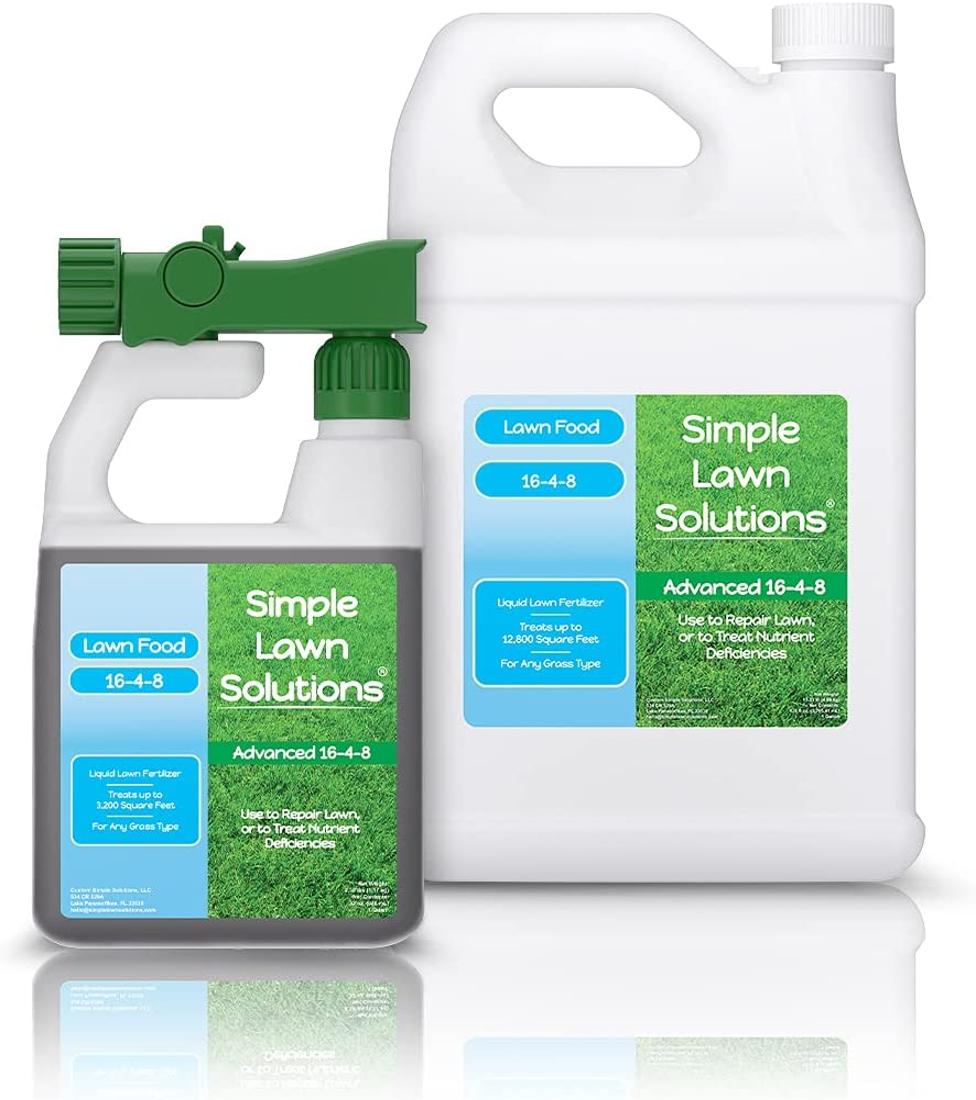Simple Lawn Solutions 16-4-8 32 Ounce + 16-4-8 1 Gallon Bundle - Liquid Lawn Food Fertilizer