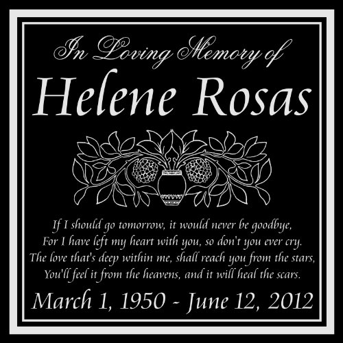 Customized Personalized Memorial 12x12 Inch Engraved Granite Grave Marker Headstone Plaque HR1