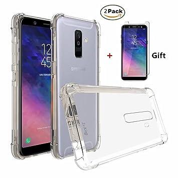 Fanxwu Funda Samsung Galaxy A6 2018 Ultrafina Transparente Cristal Suave TPU Silicona [2*Película de Cristal Templado] Diseño de Cojín de Aire ...