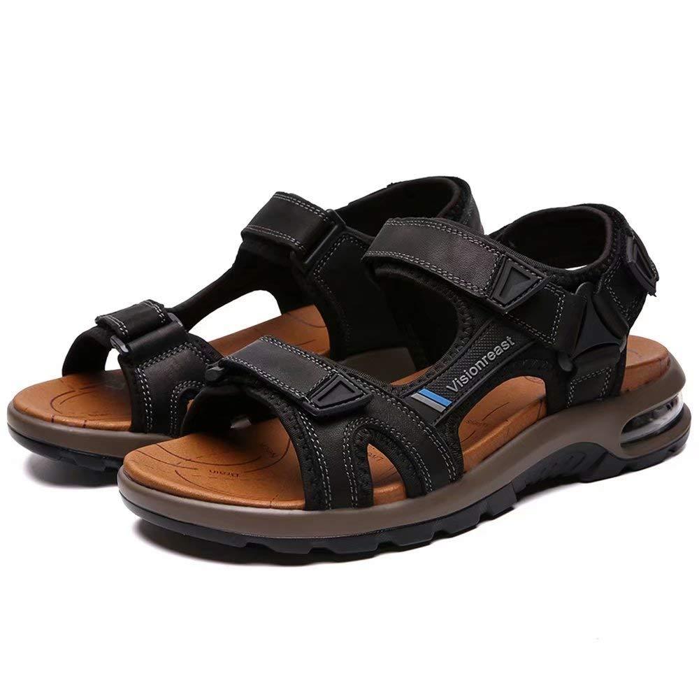 VISIONREAST Mens Leather Sandals Open Toe Outdoor Hiking Sandals Air Cushion Sport Sandals Waterproof Beach Sandals