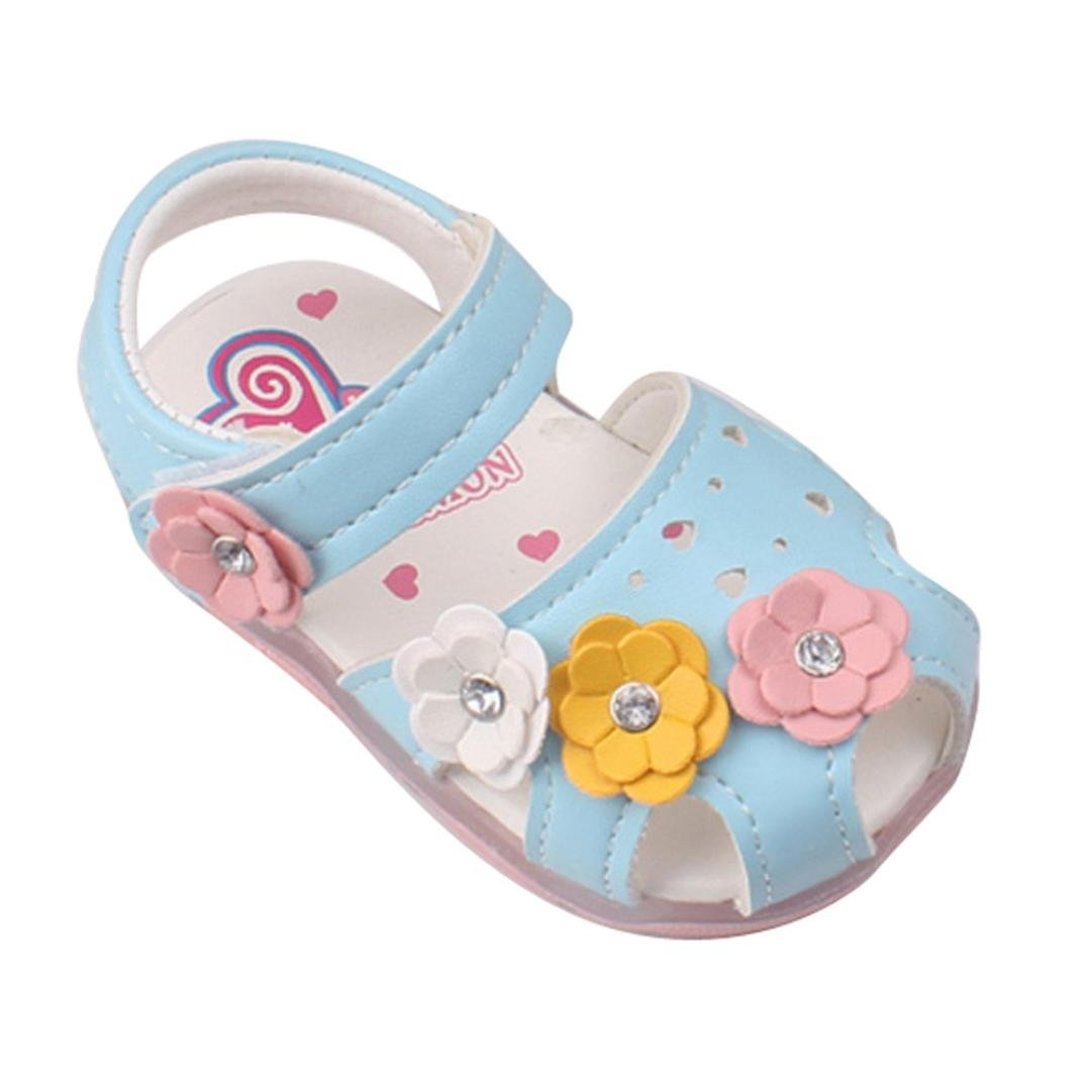 Witspace Baby Girls Luminous Sandals Toddler Kids Flowers Princess Shoes With Light