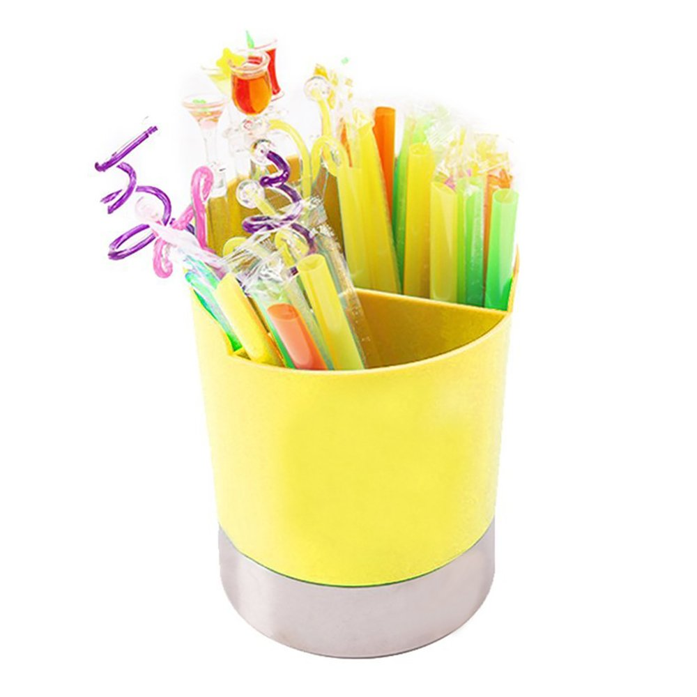 MyLifeUNIT Straw Dispenser Holder, 3 Compartments Plastic Straw Dispenser, Straw Container with Stainless Steel Base (Yellow)