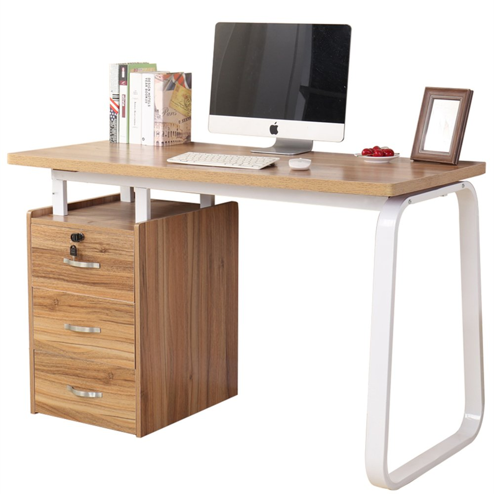 Dland Home Office Computer Desk with 3 Drawers WK164, Composite Wood Board with Metal Frame, Teak, 47'' Medium Size, 1 Pack
