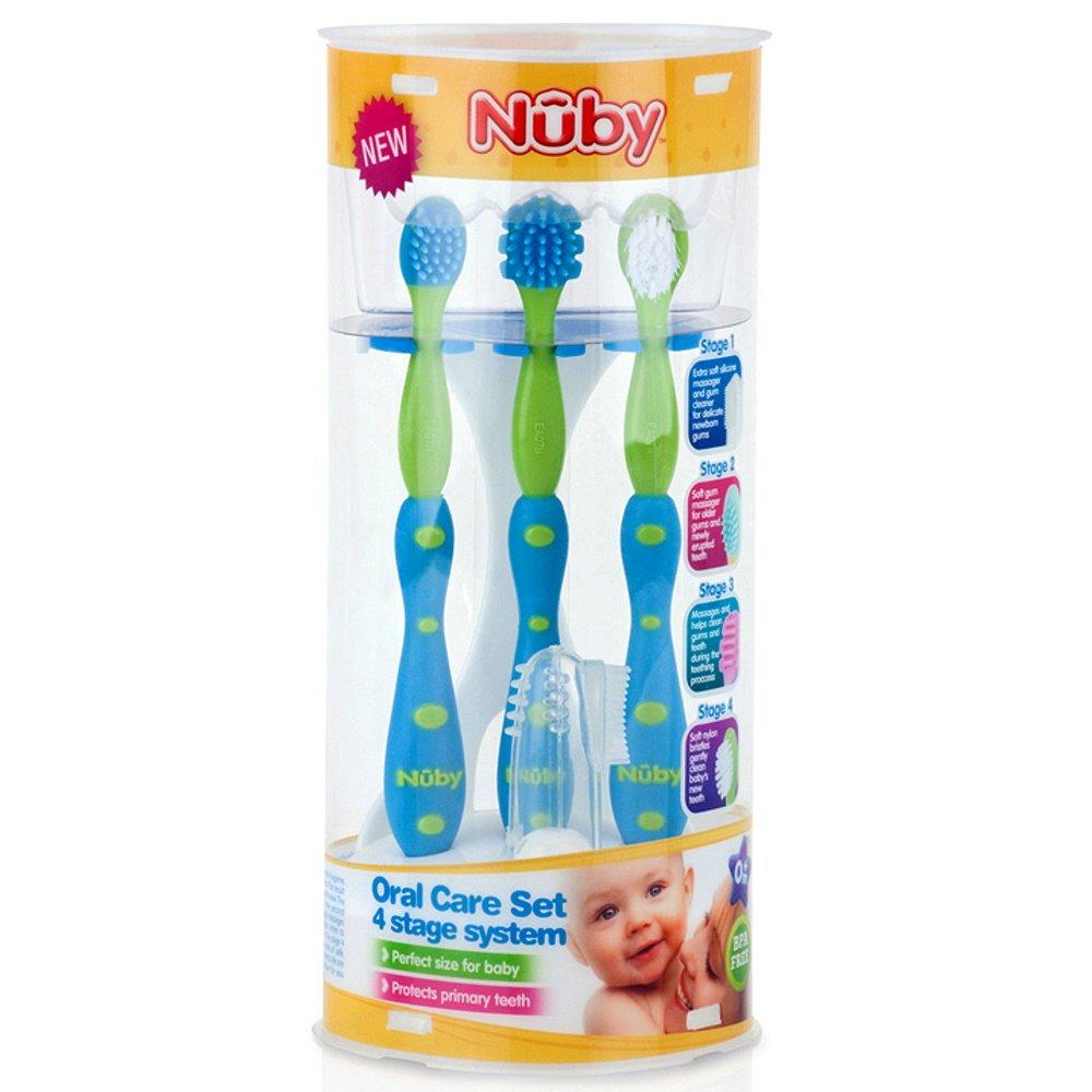 NUBY de dientes y encías Cuidado Juego de 5 piezas para bebés y niños pequeños Carne Cepillo de dientes cepillo de dientes con soporte: Amazon.es: Salud y ...