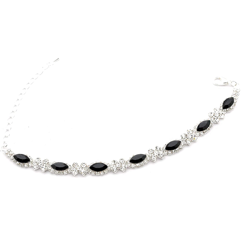 Topwholesalejewel Fashion Bracelet Silver Plating Jet Rhinestone Link Bracelet