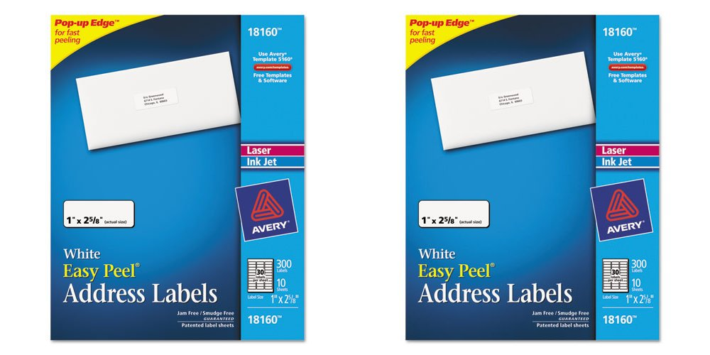 amazoncom avery address ink jet labels 1 x 2 58 inches white 30 up 10 sheets 18160 2 packs office products