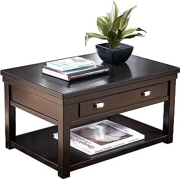 Ashley Furniture Signature Design   Hatsuko Coffee Table   Lift Top   Dark  Brown
