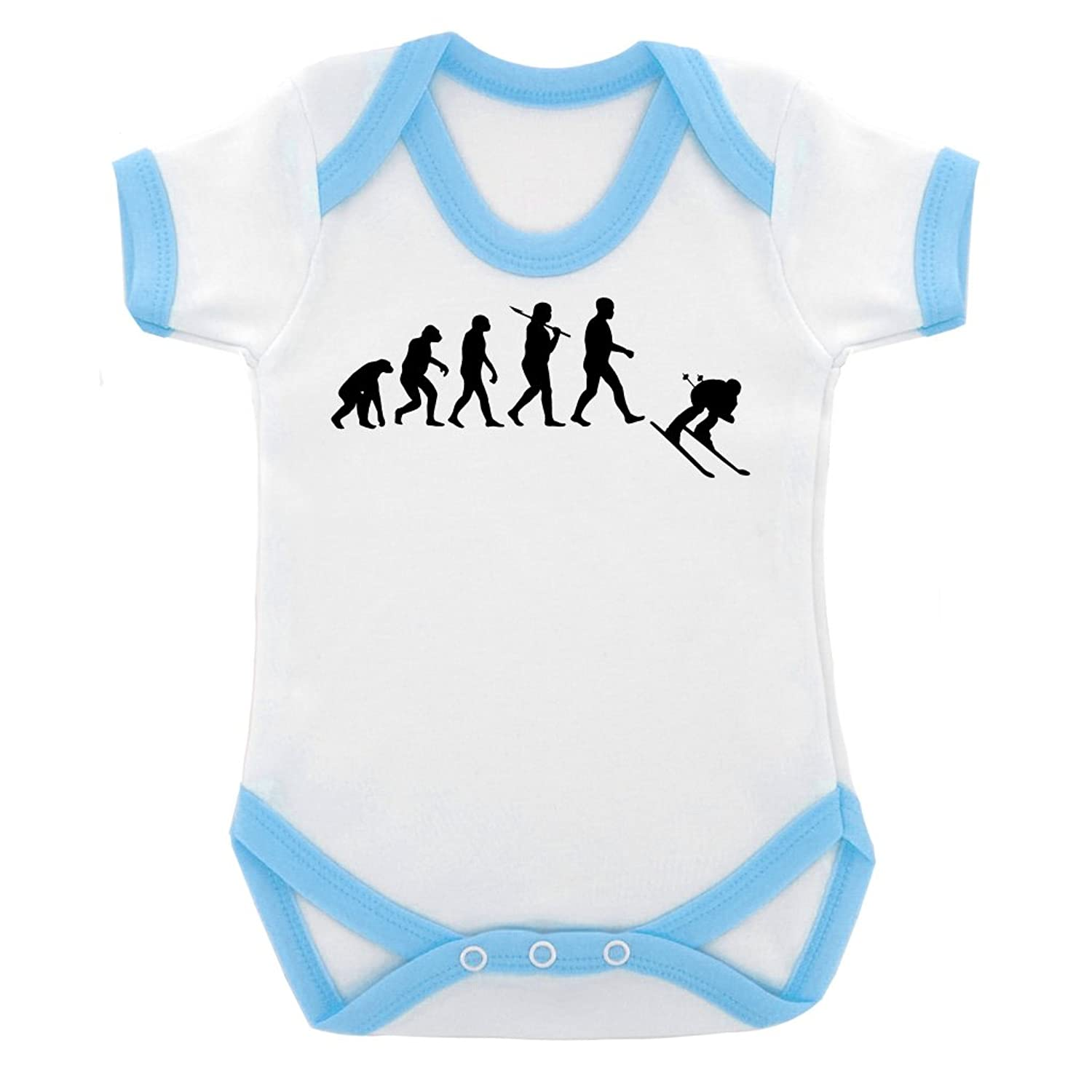 Evolution of Ski Design Baby Body mit Licht blau Kontrast Trim und schwarz print