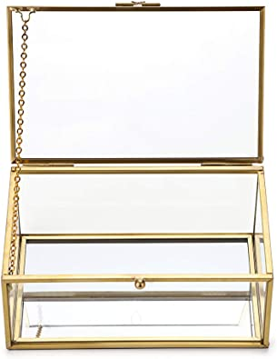 Sumnacon Joyero rectangular con tapa de cristal, diseño vintage dorado, organizador para joyería, anillos y pulseras, decoración para casa (pequeño): Amazon.es: Joyería