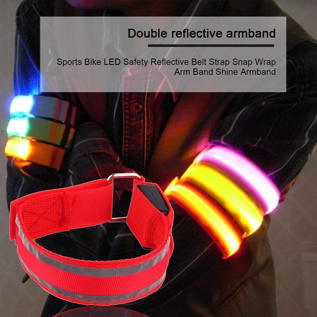 Reflective Safety Belt Arm Strap Night Cycling Running LED Armband Light Blue GA