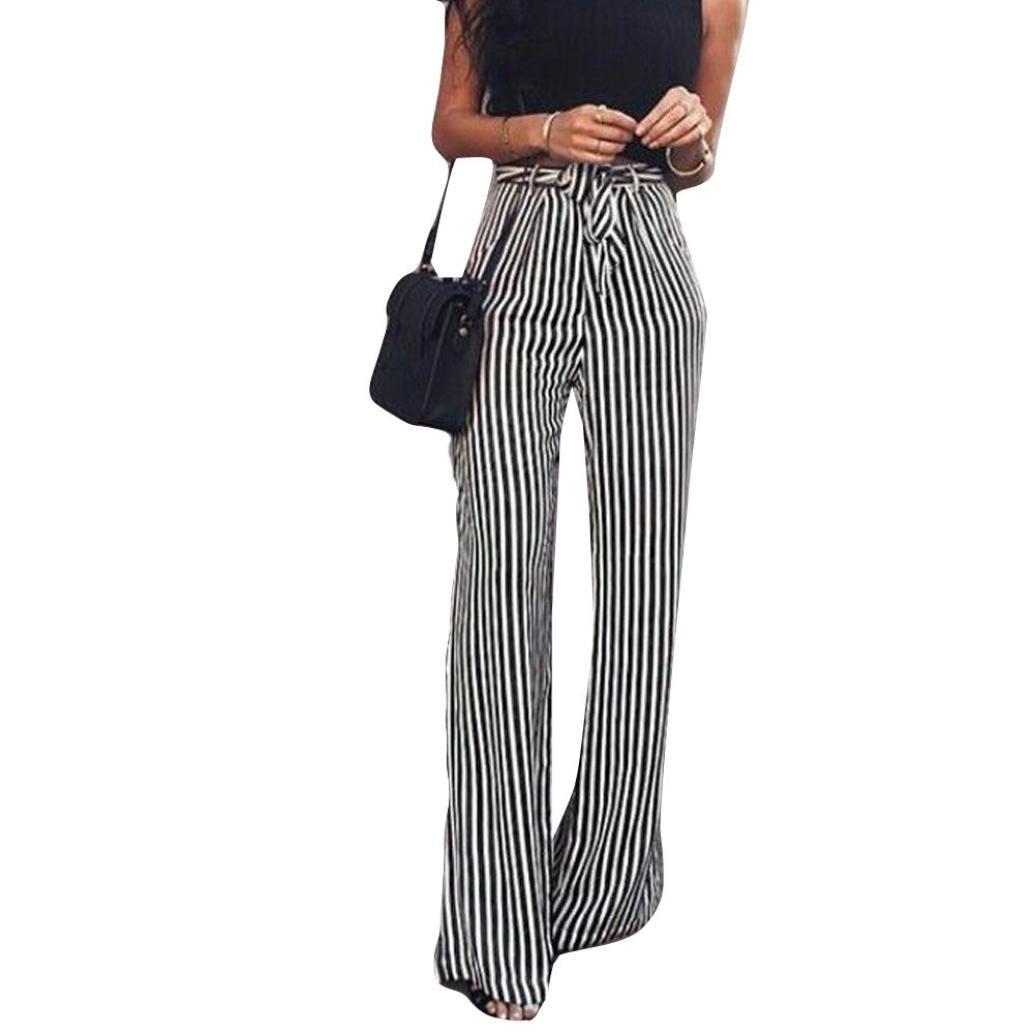 Women Pants! Leedford Women Sexy High Waist Stripe Print Floral Wide Leg Pants (S, Black)