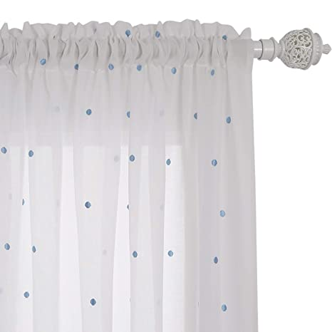 amazon com deconovo sheer white curtains embroidered blue dot faux
