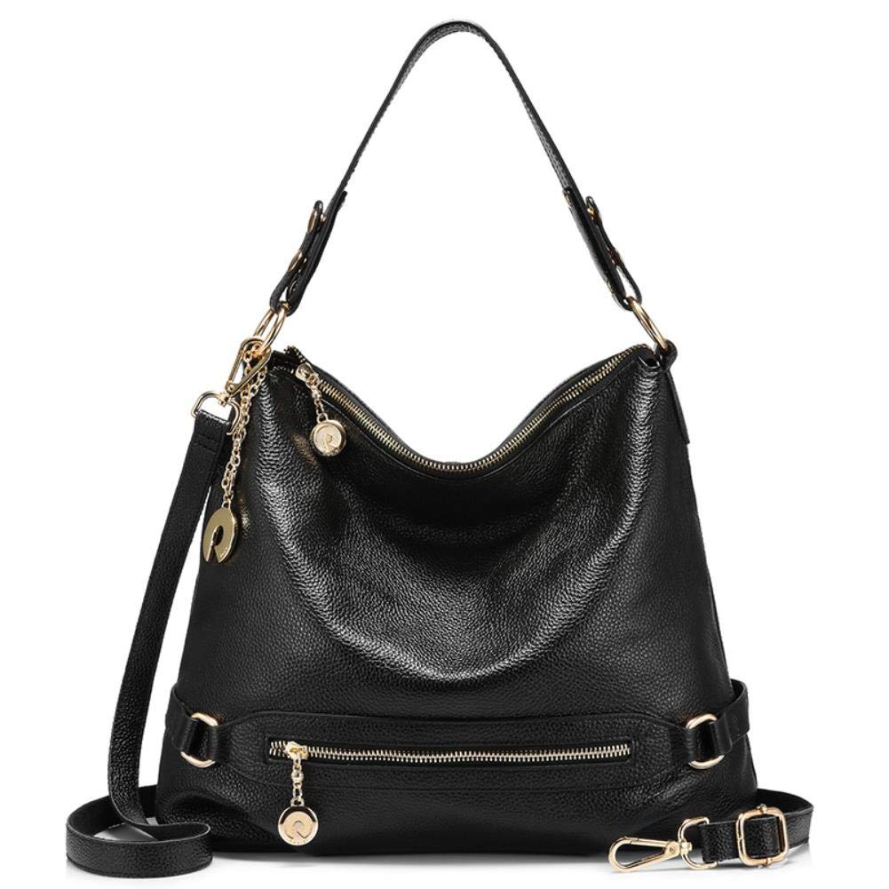 Black Women Handbag Genuine Leather Messenger Bag Big Shoulder Crossbody Bag Large Tote Bag Zipper