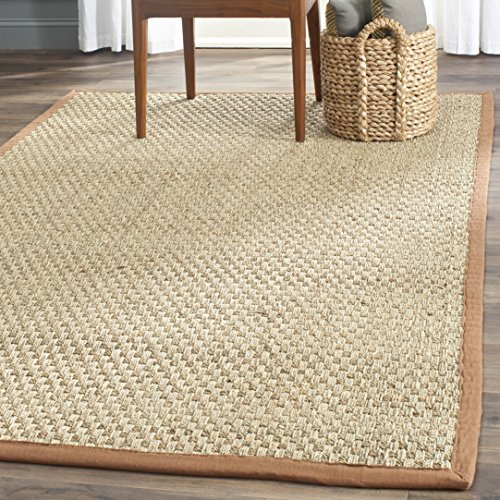 Safavieh Natural Fiber Collection NF114B Basketweave Natural and  Brown Seagrass Square Area Rug (8' Square) (Natural Rustic)