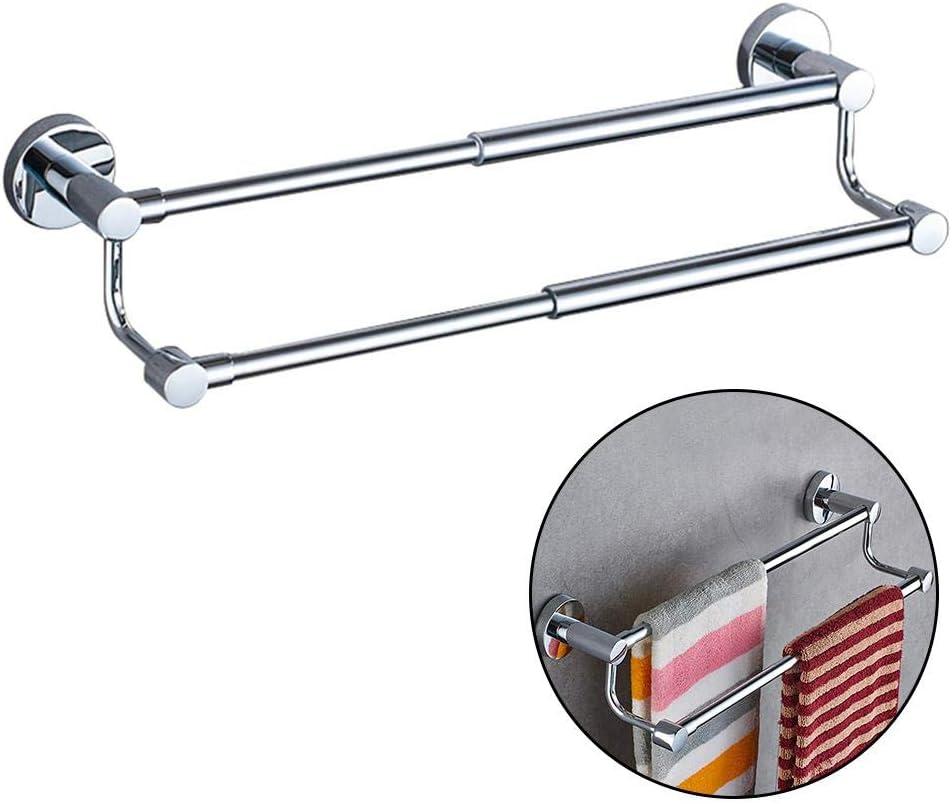 Porte-serviette mural /à double rail en acier inoxydable pour salle de bain ou cuisine 40 cm
