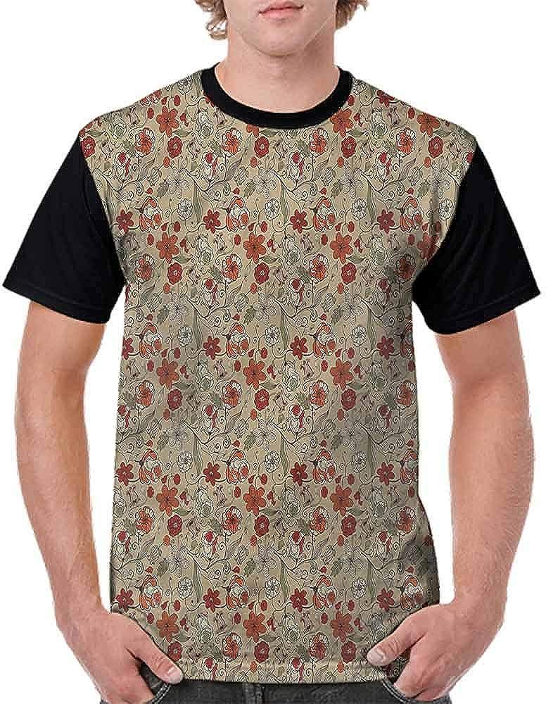 Loose T Shirt,Retro Floral Botanical Fashion Personality Customization
