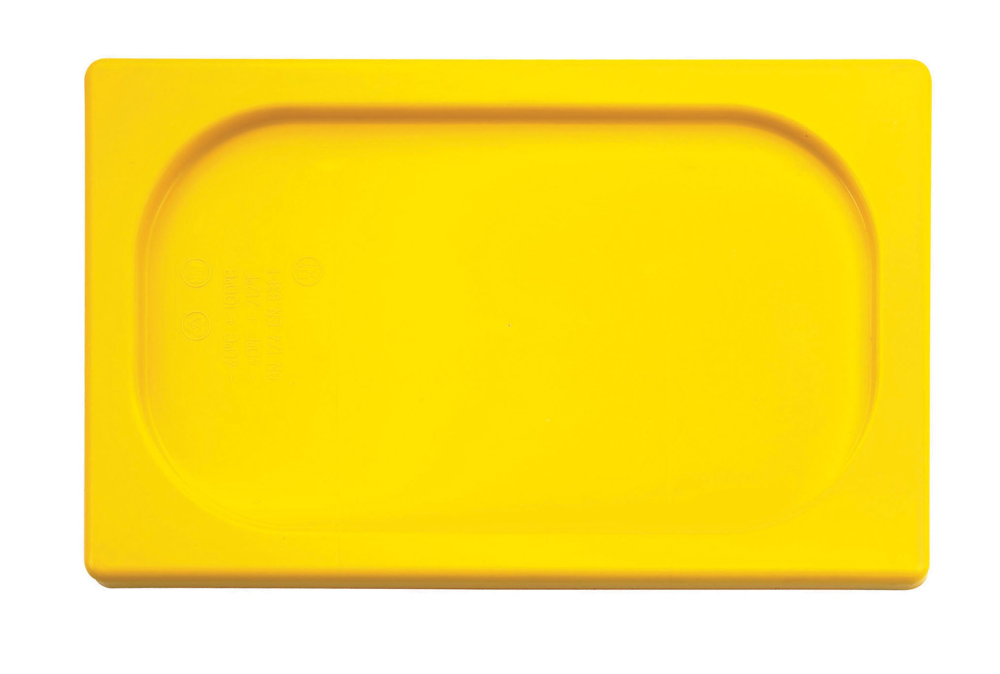 Paderno World Cuisine 20 7/8 inches by 12 3/4 inches Yellow Polypropylene Hotel Food Pan Lid - 1/1