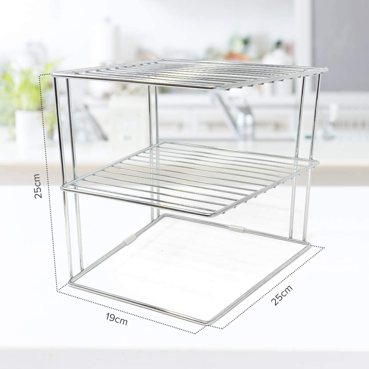 plateado soporte platos para almacenamiento en armarios de cocina Estante para platos Organizador platos estante cocina de 25x25x19cm