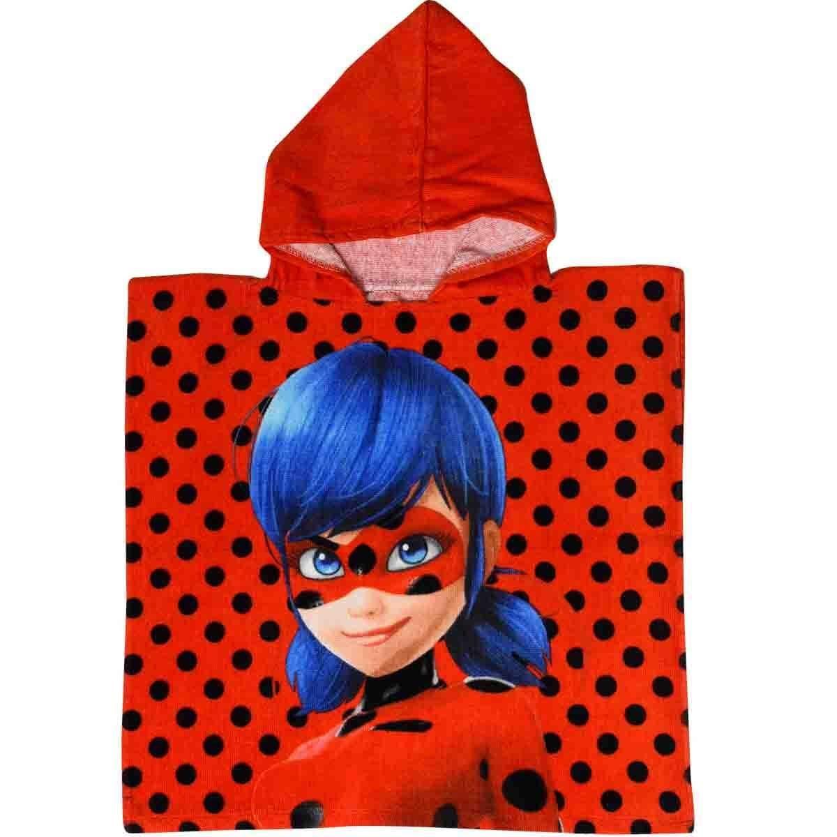 Pois Nero Poncho Asciugamano per bambino Ladybug 100 x 50 cm Bagno ...