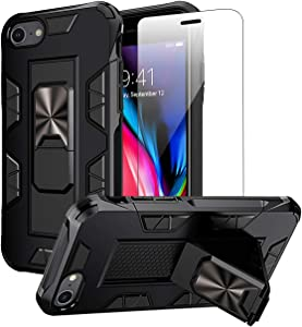 Compatible with iPhone SE 2020 Case iPhone 8 Case iPhone 7 case with Screen Protector Dual Layer Soft Flexible TPU Hard Shell Military Grade Full-Body Rugged Kickstand Protective Cover Cases (Black)
