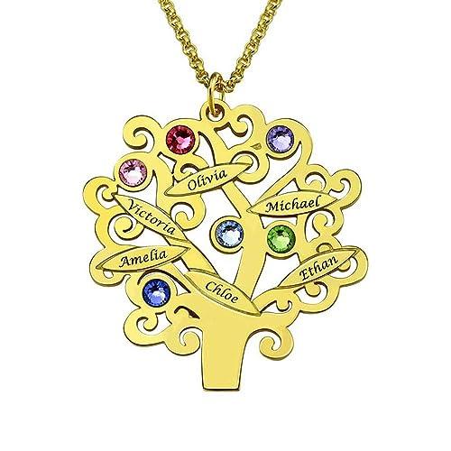 Personalisiert Graviert stammbaum anhänger halskette für mama wähle namen ein