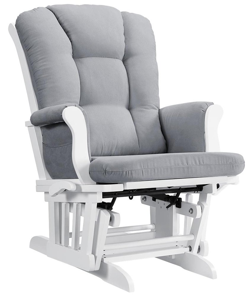 Angel Line Sleigh Reclining Glider, Multi-Position, White with Gray Cushion