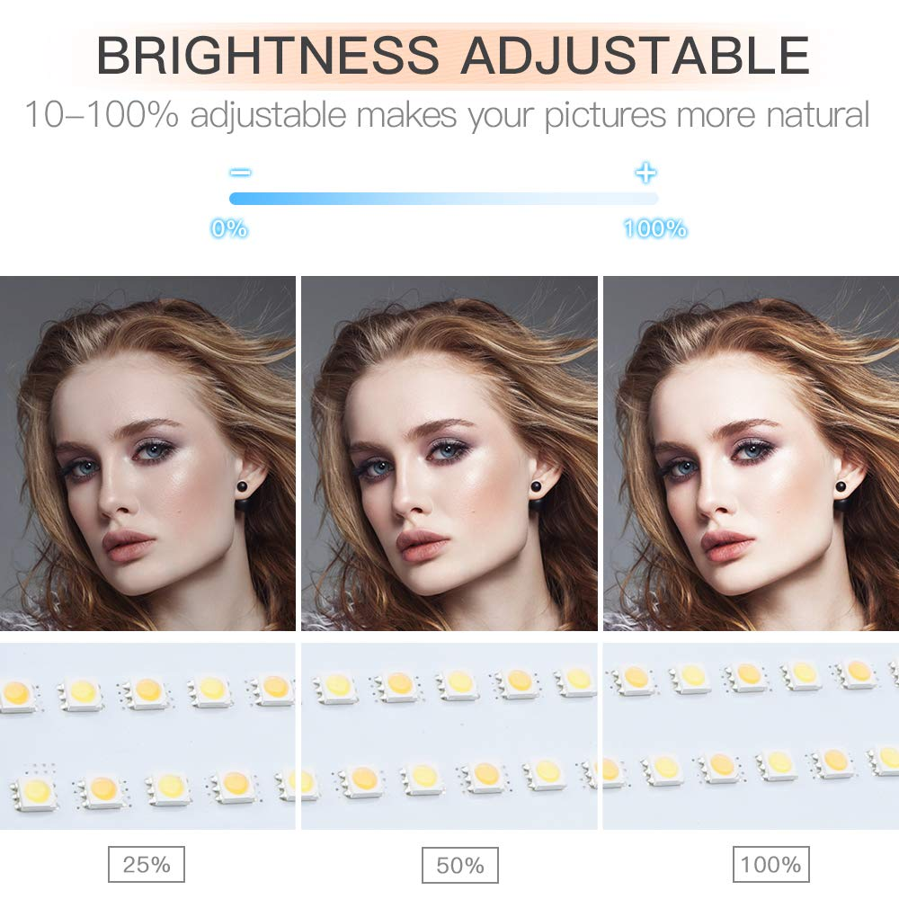 FOSITAN LED Video Light with 2M Stand Bi-Color 3960 Lux 200 SMD CRI 96+ U-Bracket LCD Display Metal Shell Video Lighting Kit for Studio Photography Shooting (2 Packs) by FOSITAN (Image #5)