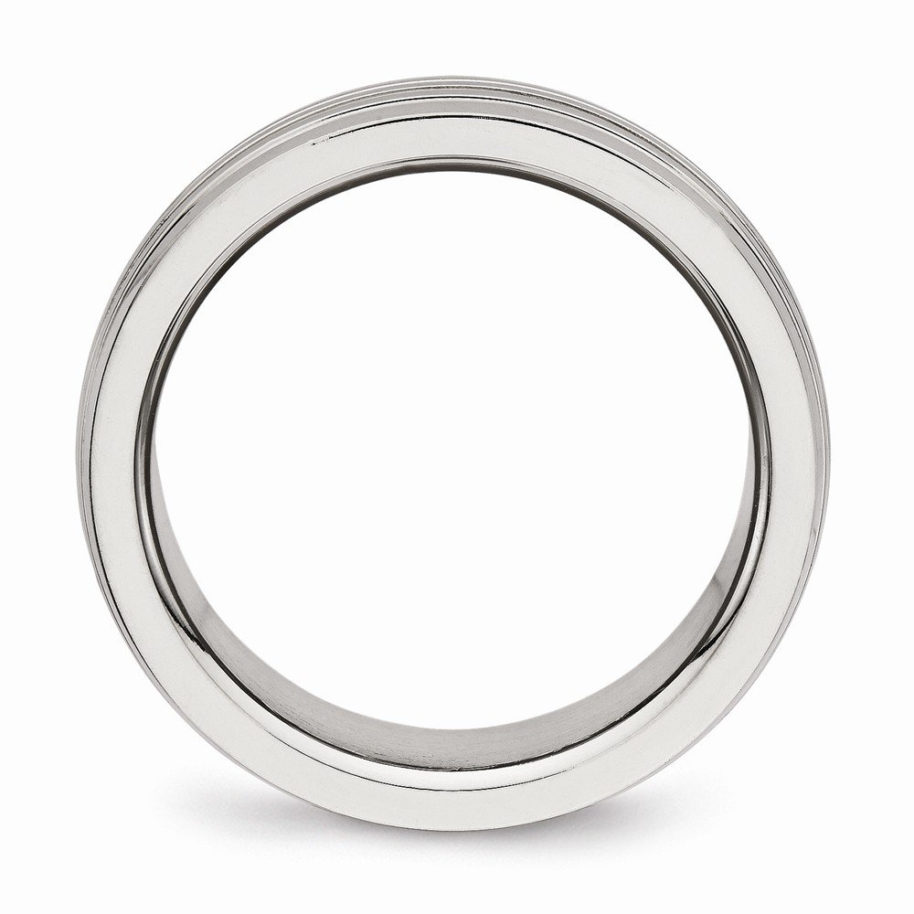 Stainless Steel Polished Grooved Ring Size 8 Length Width 8