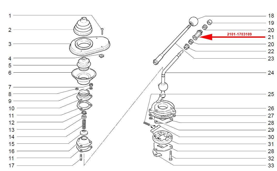 Buchse Schalthebel Getriebeschalthebel Niva /& 2101-2107