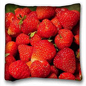 Custom Cotton & Polyester Soft ( Nature Fruits fruits strawberries ) Custom Zippered Pillow Case 16x16 inches(one sides) from Surprise you suitable for Twin-bed PC-Orange-7847