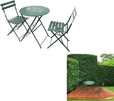 THE HOME DECO FACTORY Lot de 2 Chaises avec Table de Jardin