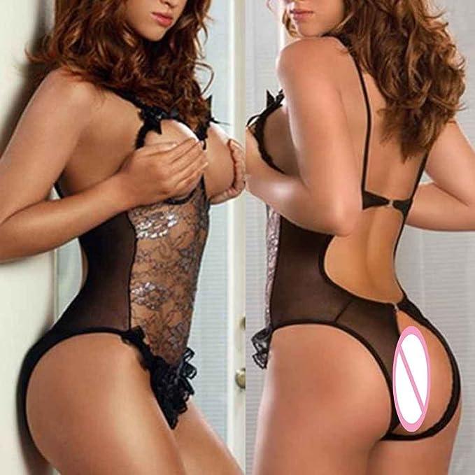 Beaums Las mujeres de una pieza atractivo pecho descubierto tres lencería punto de encaje de la ropa interior ropa de dormir ropa de dormir bodydoll ...
